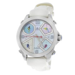 New Unisex Jacob & Co. Five 5 Time Zone Steel Diamond Mother of Pearl Watch