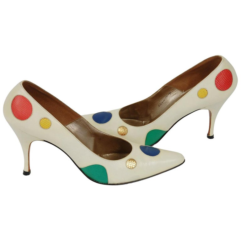 New Unworn Ivory Alix Multicolor Lizard Polka Dot Stiletto Pumps - 6.5 AA, 1950s For Sale