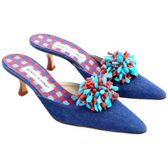 New Unworn Manolo Blahnik Shoes Denim Kitten Heel Mules W/ Red & Blue Beads 38.5