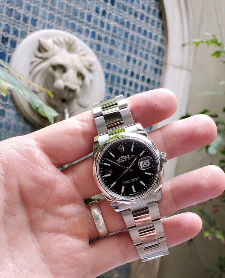 New, Unworn, Rolex Stainless Steel Datejust with Box and Card, Black Dial In New Condition For Sale In New Orleans, LA