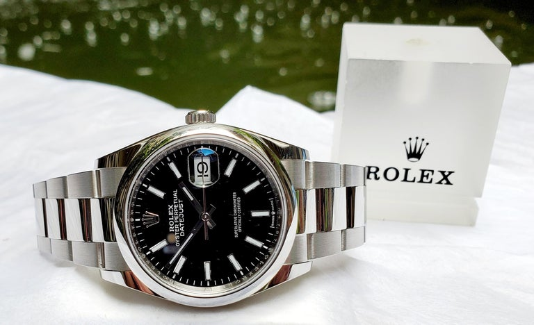 Women's or Men's New, Unworn, Rolex Stainless Steel Datejust with Box and Card, Black Dial For Sale