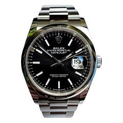 New, Unworn, Rolex Stainless Steel Datejust with Box and Card, Black Dial