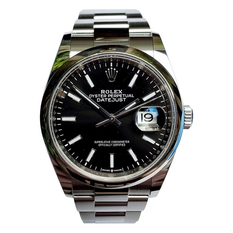 New, Unworn, Rolex Stainless Steel Datejust with Box and Card, Black Dial For Sale