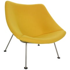 New Upholstery F157 Oyster Lounge Chair by Pierre Paulin for Artifort, 1960s