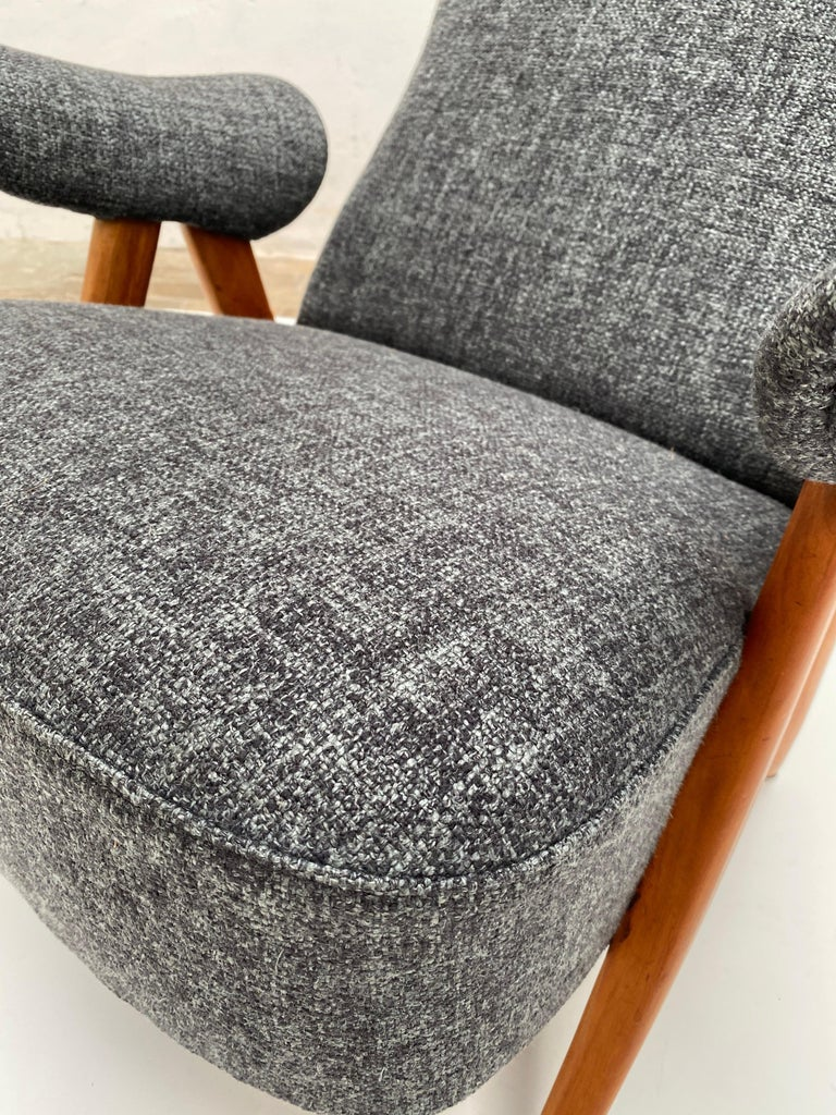Carved New Upholstery Theo Ruth Model 105 Lounge Chair, Artifort, 1957, the Netherlands For Sale