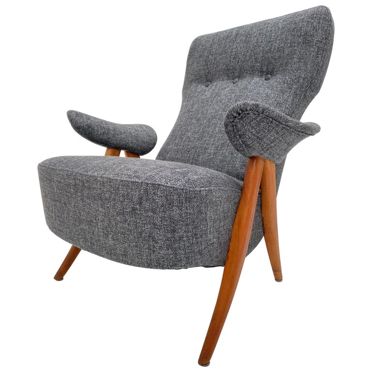 New Upholstery Theo Ruth Model 105 Lounge Chair, Artifort, 1957, the Netherlands For Sale