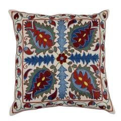 New Uzbek Suzani Pillow Case, Embroidered Cotton & Silk Cushion Cover
