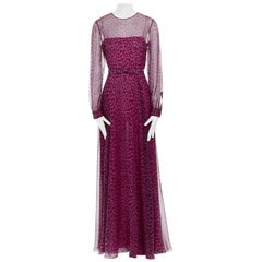 new VALENTINO 2013 pink black leopard silk long sleeves belted evening gown IT40