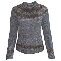 New Valentino Fair Isle Metallic Silver Grey Chunky Rib Knit Sweater