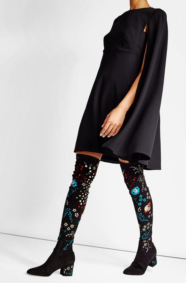 0242bc45fb3 Black New Valentino Garavani  Astro Couture  Stretch Suede Over-the-Knee  Boots
