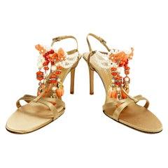 New Valentino Garavani FW 2004 Pearls Crystal Enamel Embellished Sandals 40 - 10