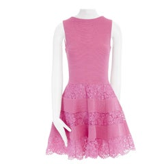 new VALENTINO pink ribbed stretch floral lace paneled fit flare dress M