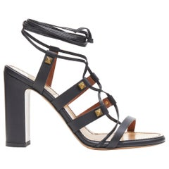 new VALENTINO Rockstud black stud strappy gladiator block heel sandals EU37.5