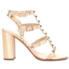 new VALENTINO Rockstud Tribal Geometric leather chunky heel caged sandals EU36