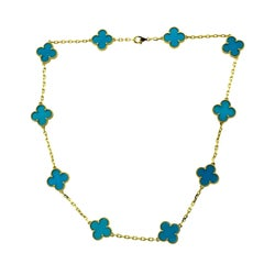 Van Cleef & Arpels Vintage Alhambra Blue Agate Yellow Gold Necklace