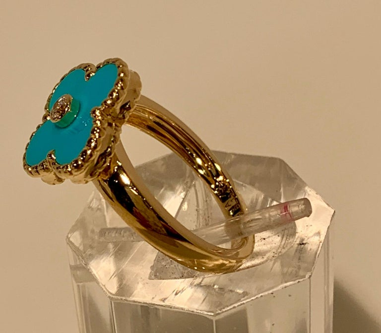 New Van Cleef & Arpels Vintage Alhambra Collection Diamond Turquoise Flower Ring For Sale 5