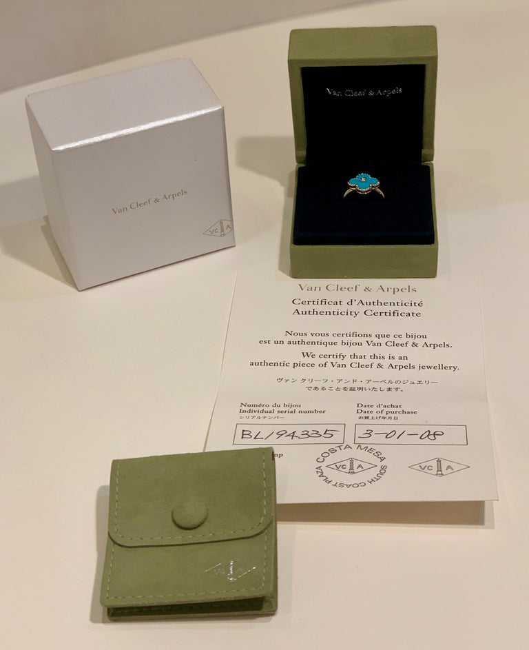 New Van Cleef & Arpels Vintage Alhambra Collection Diamond Turquoise Flower Ring For Sale 10