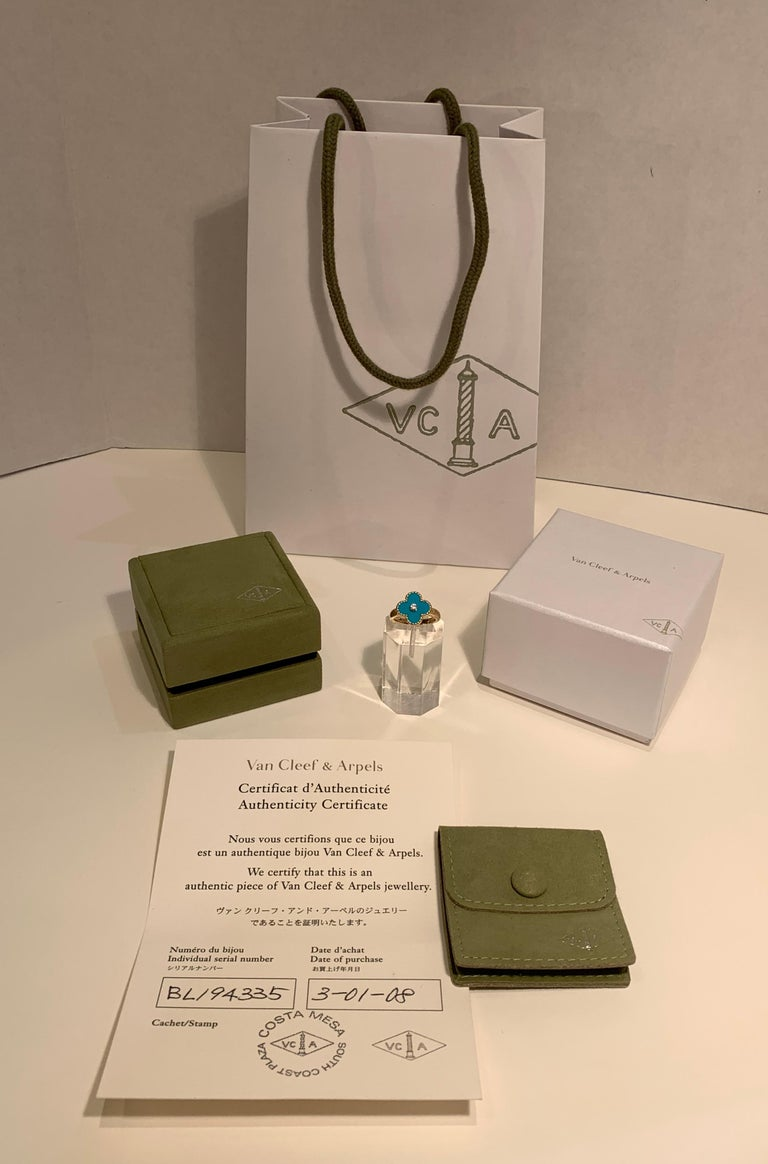 Contemporary New Van Cleef & Arpels Vintage Alhambra Collection Diamond Turquoise Flower Ring For Sale