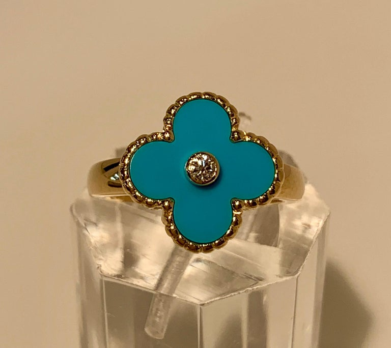 New Van Cleef & Arpels Vintage Alhambra Collection Diamond Turquoise Flower Ring For Sale 1