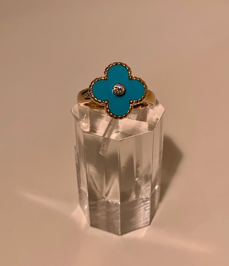 New Van Cleef & Arpels Vintage Alhambra Collection Diamond Turquoise Flower Ring For Sale 3