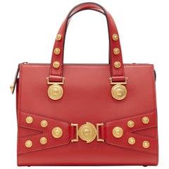 new VERESACE Tribute Tote Small red Bondage Medusa gold stud shoulder bag