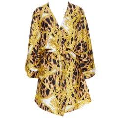 new VERSACE 100% silk brown leopard gold Medusa barocco print kimono robe M