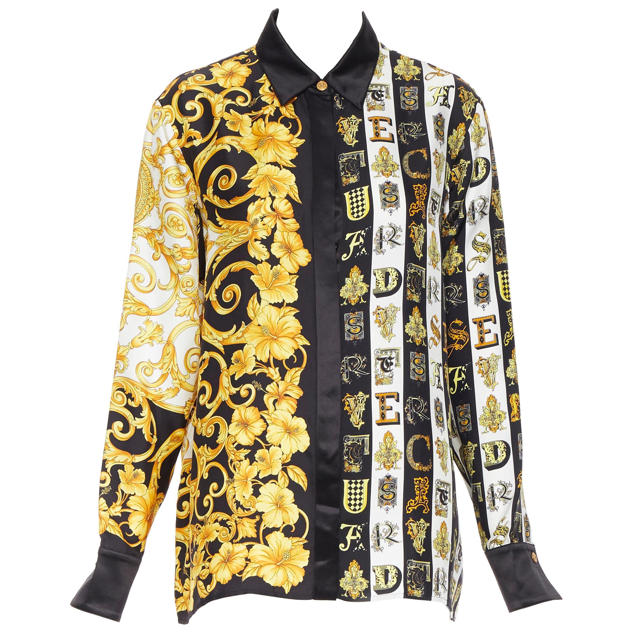 new VERSACE 100% silk gold black Hibiscus Baroque Virtus Alphabet shirt IT40 S