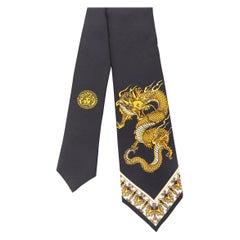 new VERSACE 100% silk print gold oriental dragon baroque slim tie