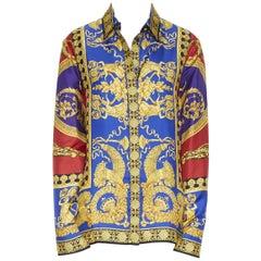 new VERSACE 100% silk red blue gold leopard baroque print Medusa shirt IT40 S