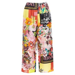 new VERSACE 100% silk SS19 floral flower box logo print casual pants IT38 XS