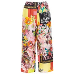 new VERSACE 100% silk SS19 floral flower box logo print casual pants IT42 M