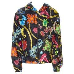 new VERSACE 100% silk SS19 Vintage Jewel Floral Gold Chain hoodie jacket IT48 M