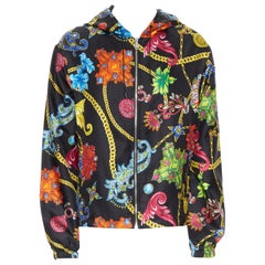 new VERSACE 100% silk SS19 Vintage Jewel Floral Gold Chain hoodie jacket IT50 L