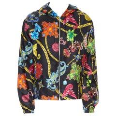 new VERSACE 100% silk SS19 Vintage Jewel Floral print hoodie jacket IT48 M