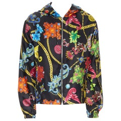 new VERSACE 100% silk SS19 Vintage Jewel Floral print hoodie jacket IT52 XL