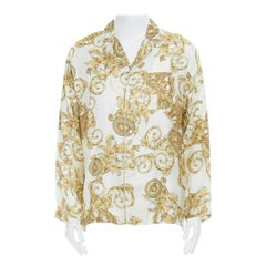 new VERSACE 100% silk white gold dragon Medusa baroque pyjama fit shirt IT3 XS