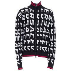 new VERSACE 100% wool black bold logo jacquard red trimmed cardigan IT54 3XL