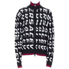 new VERSACE 100% wool black bold logo jacquard red trimmed cardigan IT56 4XL