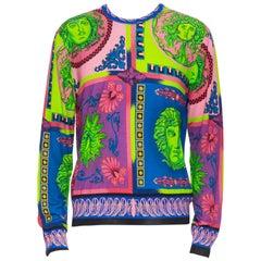 new VERSACE 100% wool Pop Foulard neon Medusa graphic print knitted sweater XXXL