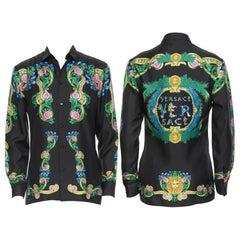 new VERSACE 2018 100% silk black Miami barocco print relaxed shirt EU44 3XL