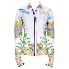 new VERSACE 2018 100% silk purple Miami palm tree logo baroque print shirt IT40