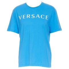 new VERSACE 2018 blue 1990's logo front Medusa print slogan t-shirt 4XL