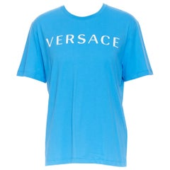 new VERSACE 2018 blue vintage 90's logo front Medusa print slogan t-shirt 3XL