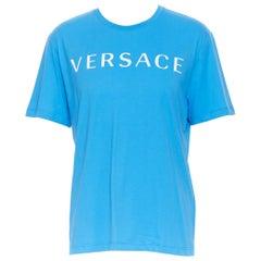 new VERSACE 2018 blue vintage 90's logo front Medusa print slogan t-shirt XXL