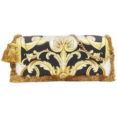 New VERSACE 2018 Pillow Talk gold black baroque print silk tassel shoulder bag
