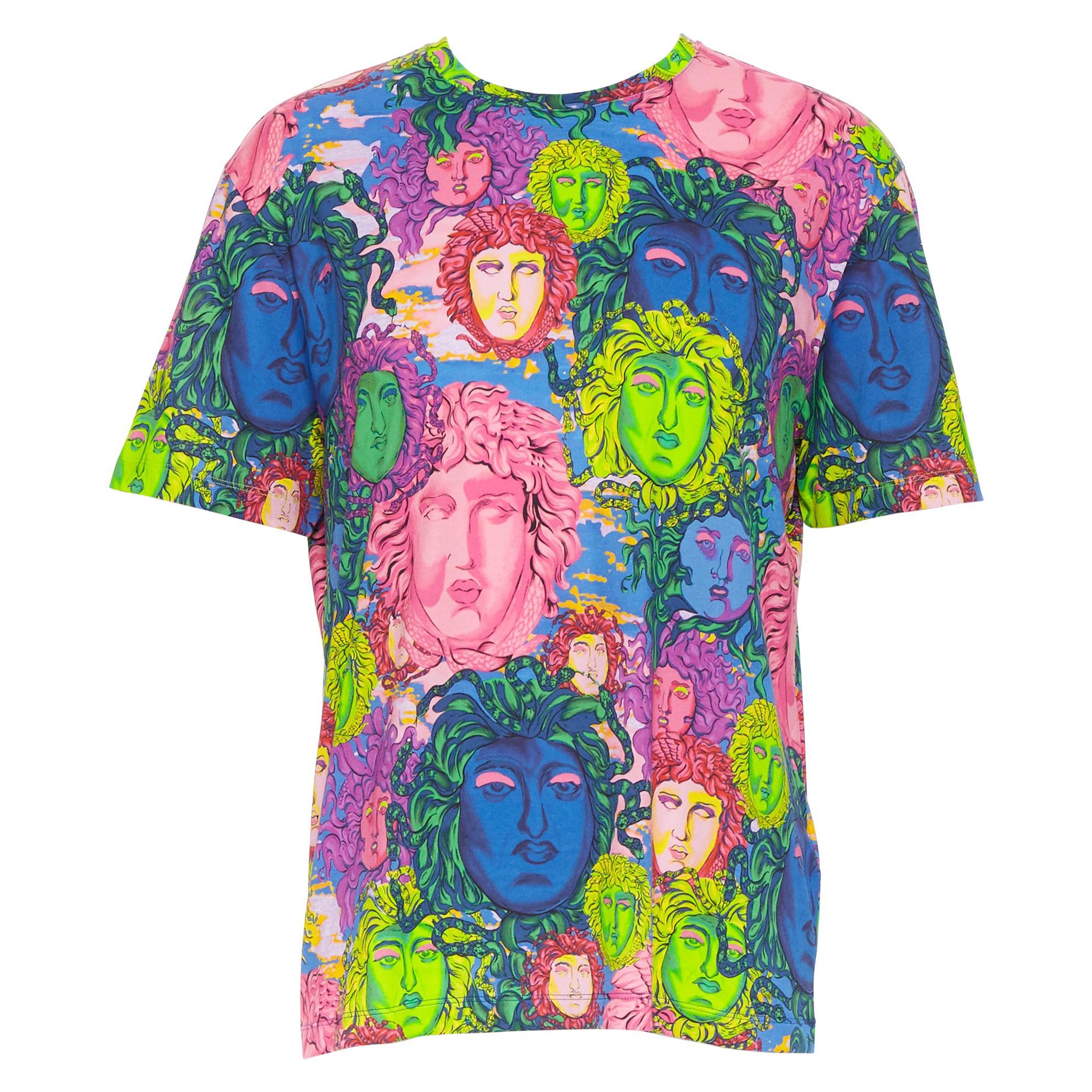 new VERSACE 2018 Pop Foulard multicolour neon Medusa all-over print t-shirt XXL