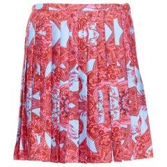 new VERSACE 2018 Runway 100% silk blue pink barocco pleated slit mini skirt IT40