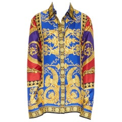 new VERSACE 2018 Runway 100% silk blue red gold Leopard baroque royal shirt IT46