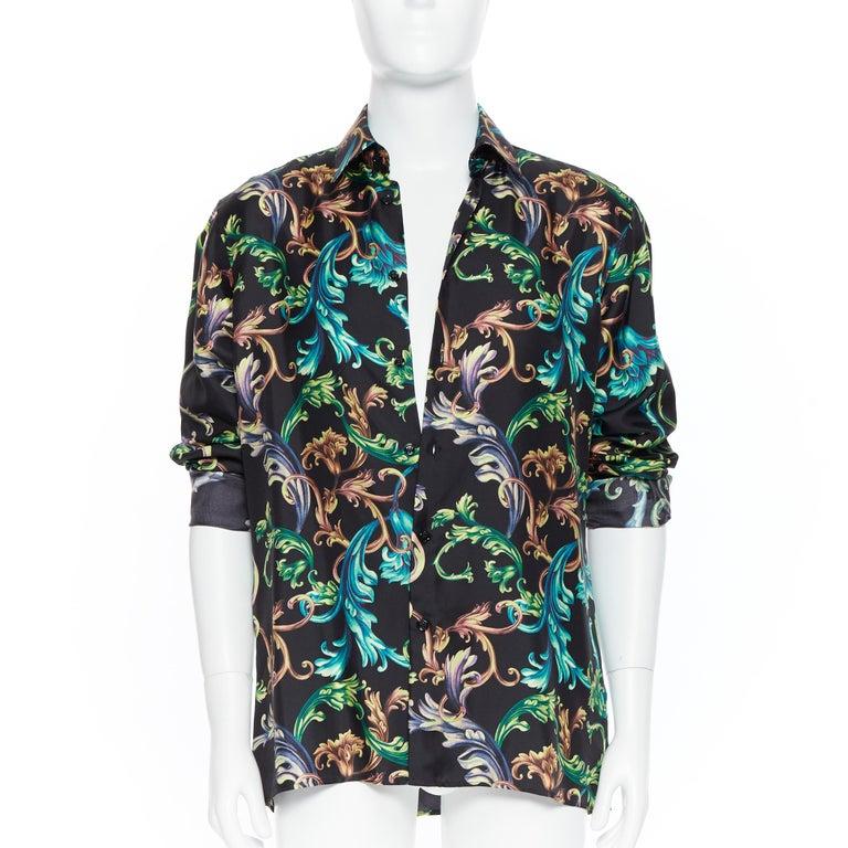new VERSACE 2018 Runway Acid Baroque black green floral print 100/% silk shirt