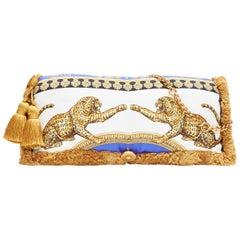 new VERSACE 2018 Runway Pillow Talk baroque leopard silk tassel shoulder bag